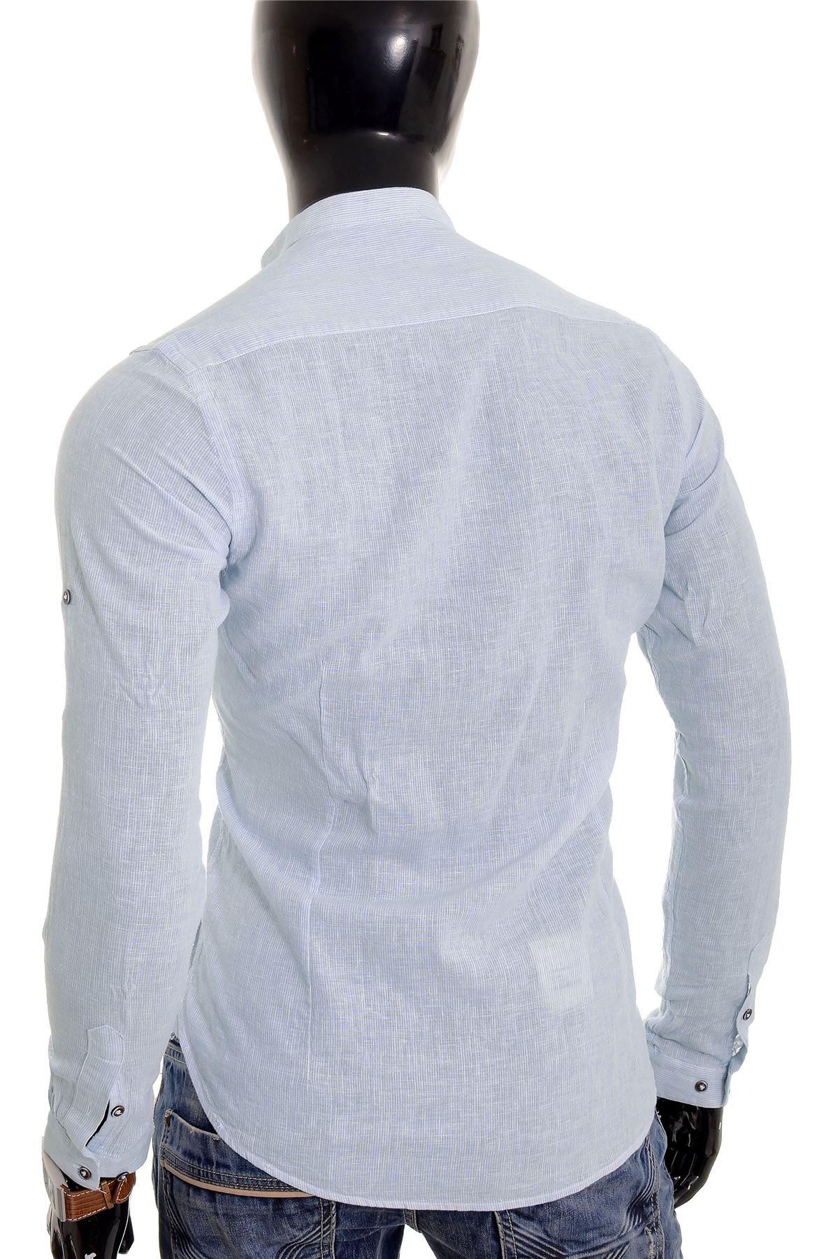 Men/'s Casual Henley Shirt Grandad Stand-up Collar Cotton Linen Slim Roll Sleeve