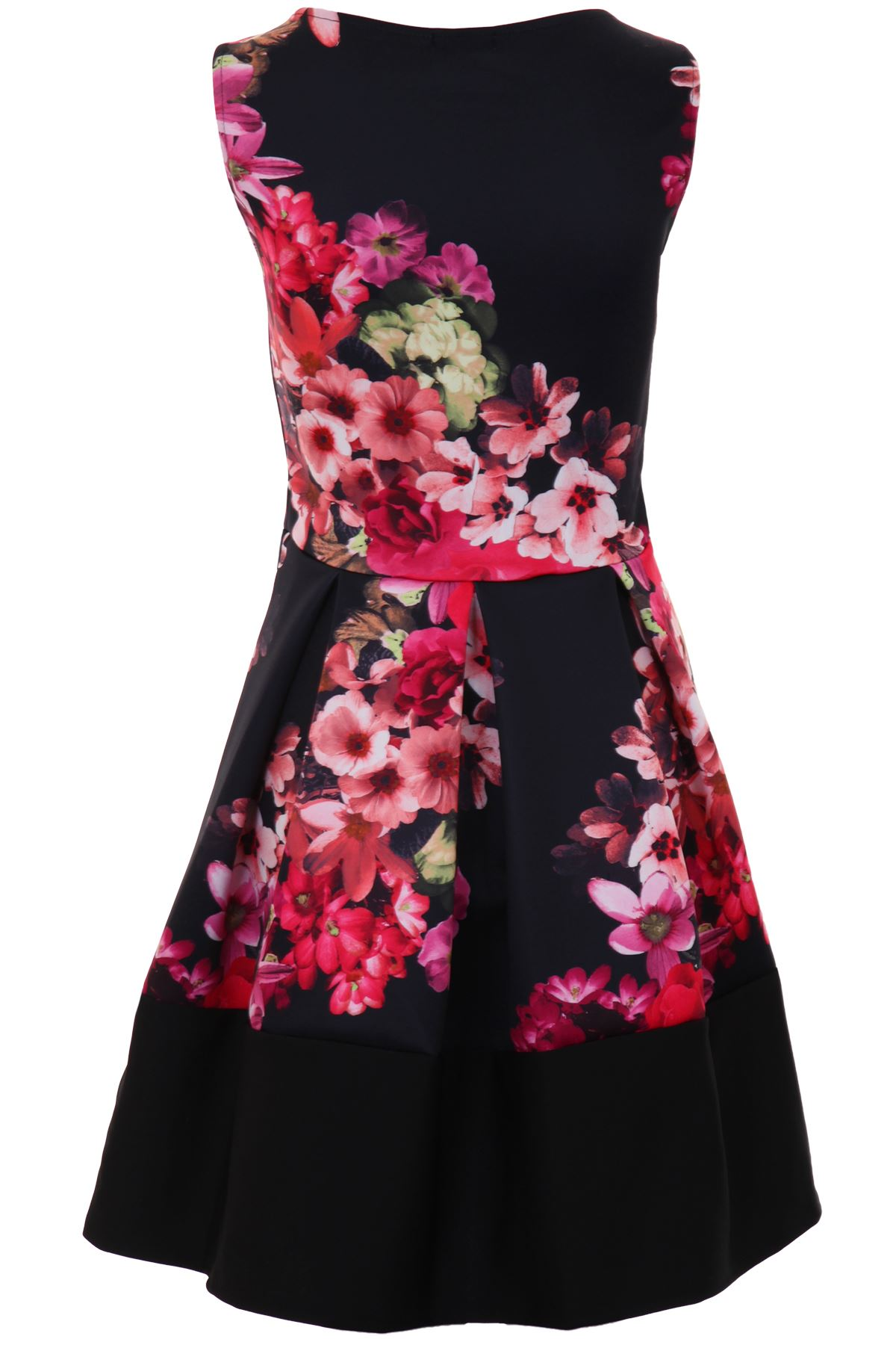Ladies Sleeveless Neon Floral Print Pleated Block Panel Hem Skater Party Dress