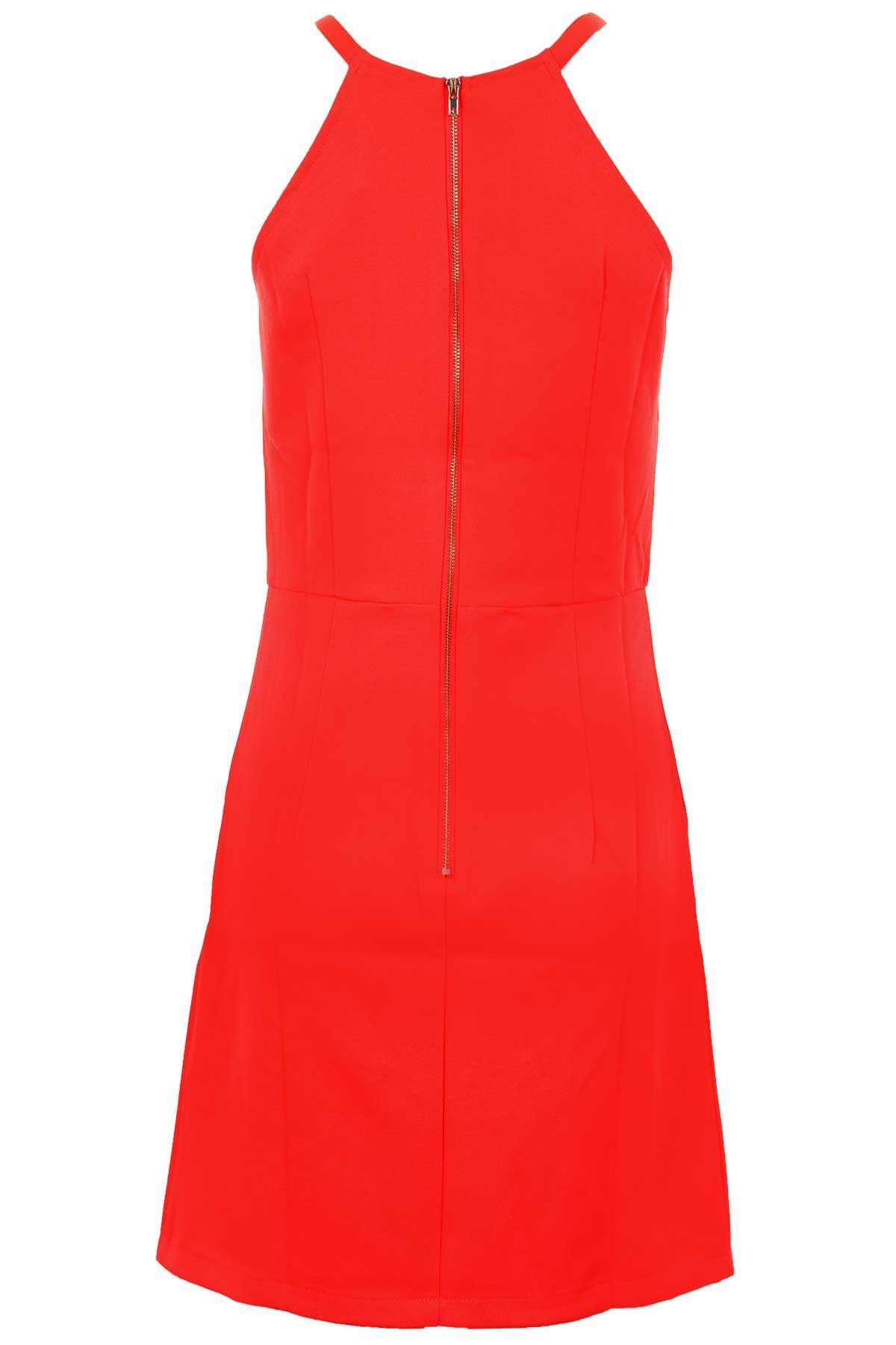 Women/'s Zip Back Sleeveless Studded Strap Ladies Party Smart Shift Dress 8-16