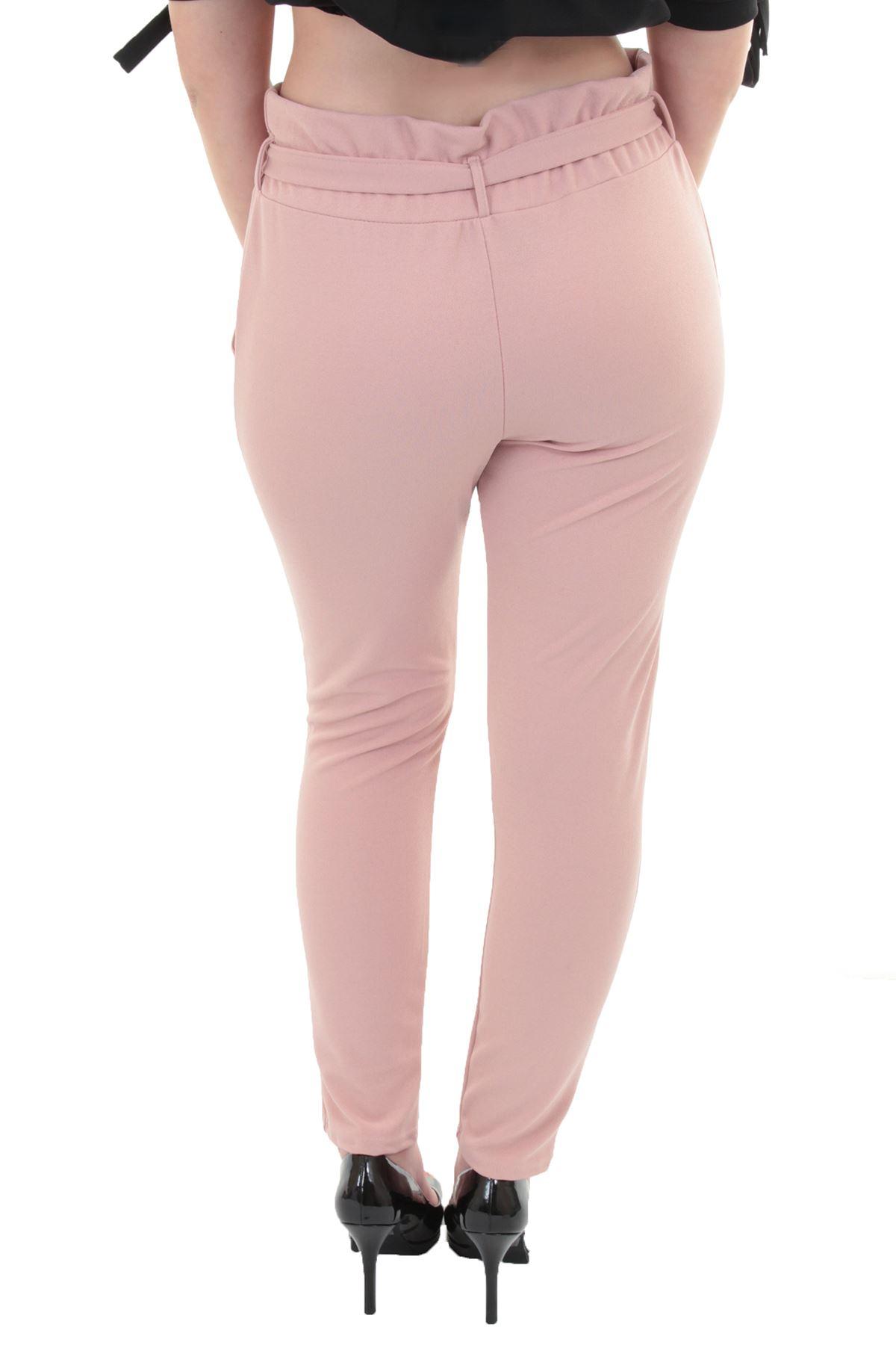 Womens Elasticated High Waist Ali Baba Plain Smart Textured Crepe Trousers