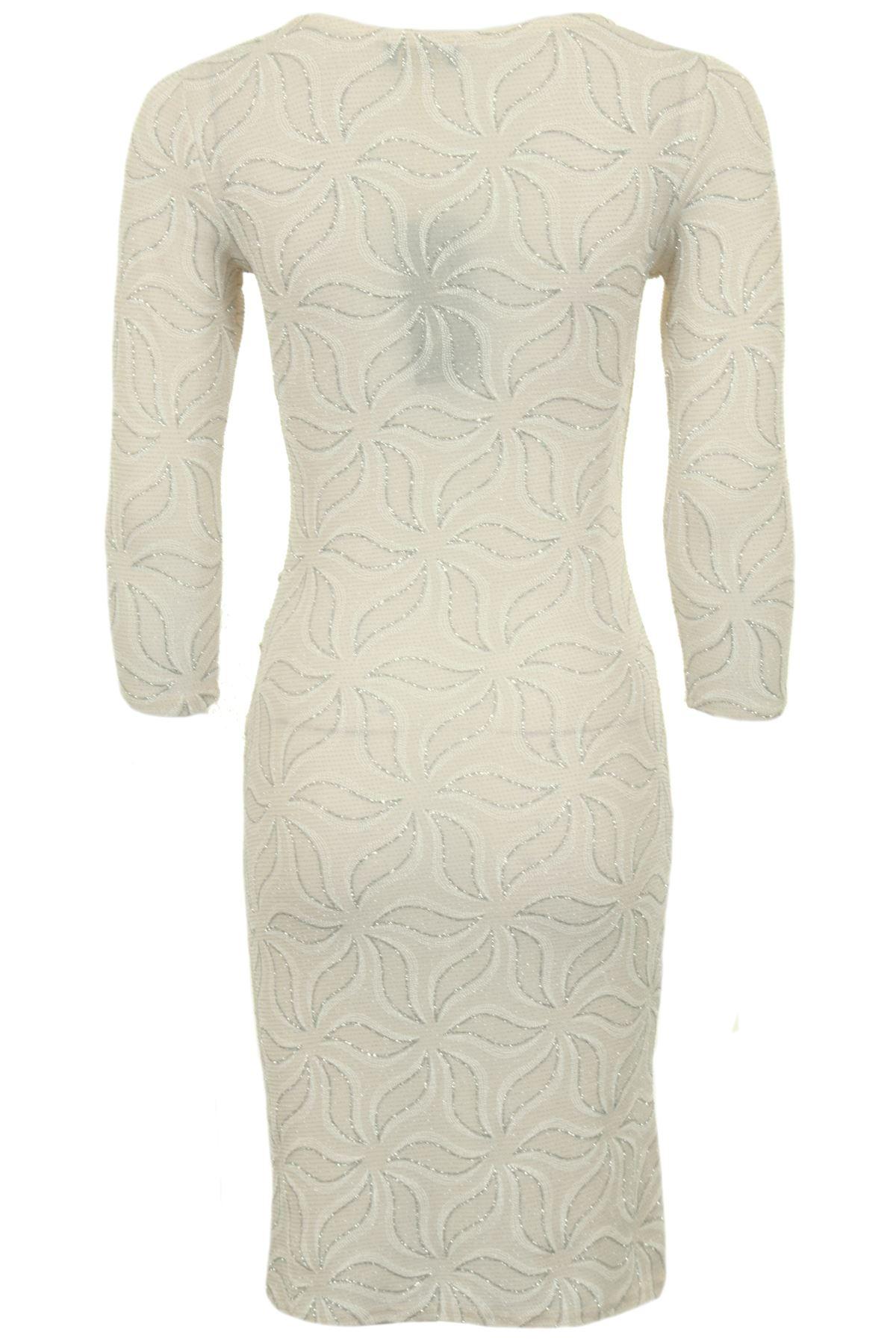 Femmes manches 3//4 floral leaf sparkle glitter lurex moulante froncée midi robe