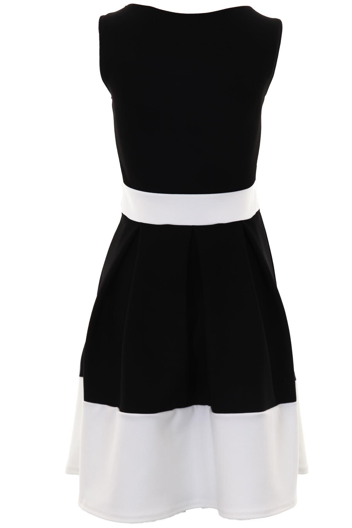 Ladies Sleeveless Bow Waist Panel Contrast Block Hem Pleated Skater Dress