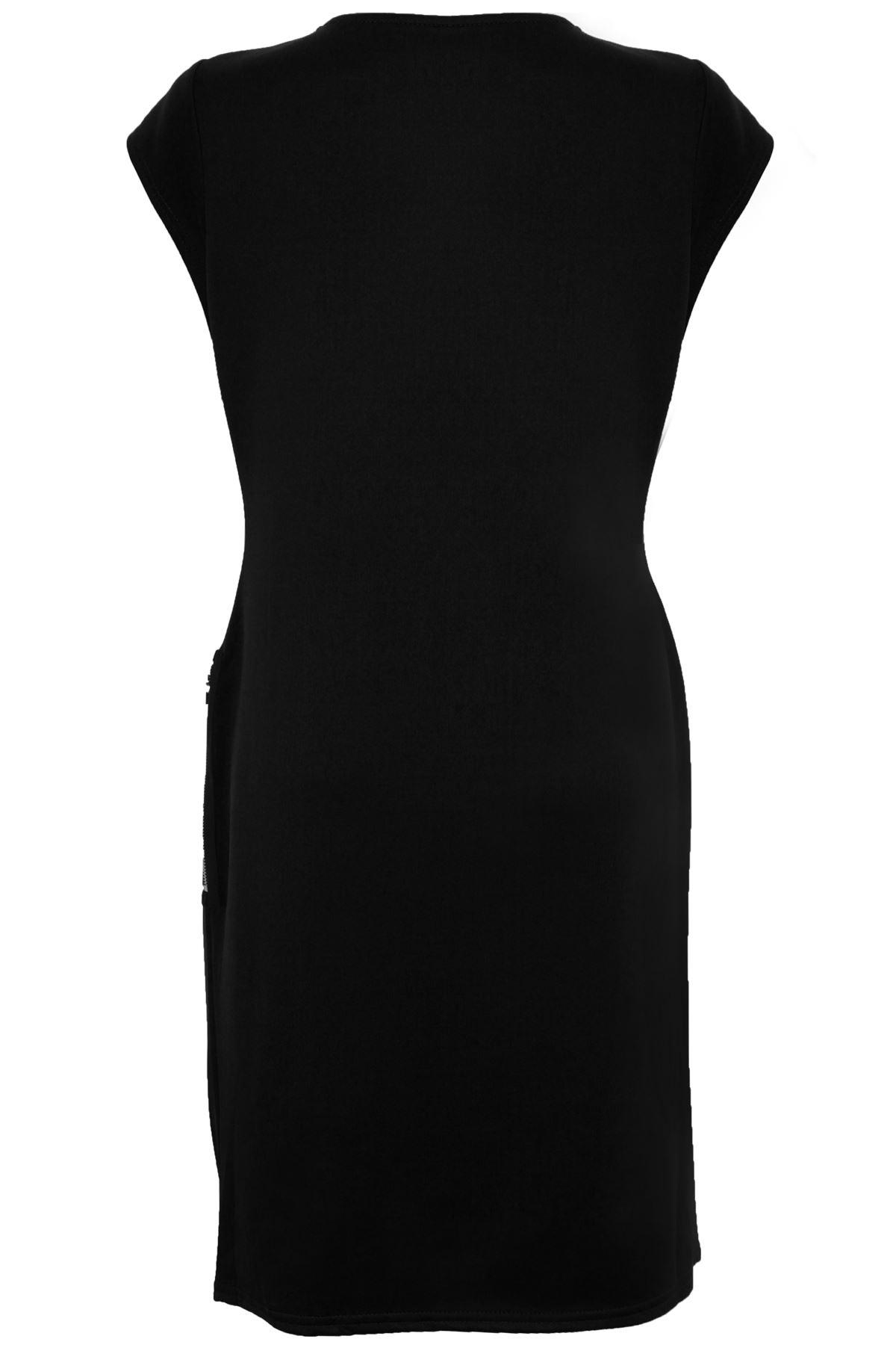Women/'s Smart Plus Size Bodycon Ladies Cap Sleeve Side Zip Gathered Dress