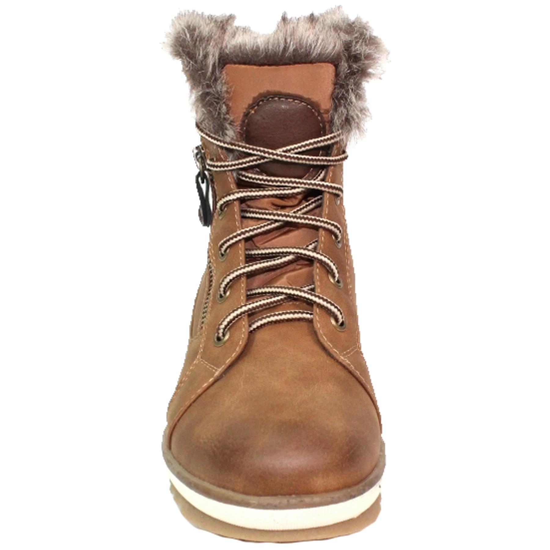 Amelia Zipper Shoe Padded Insole Comfort Faux Fur Lace Up Flat Boots
