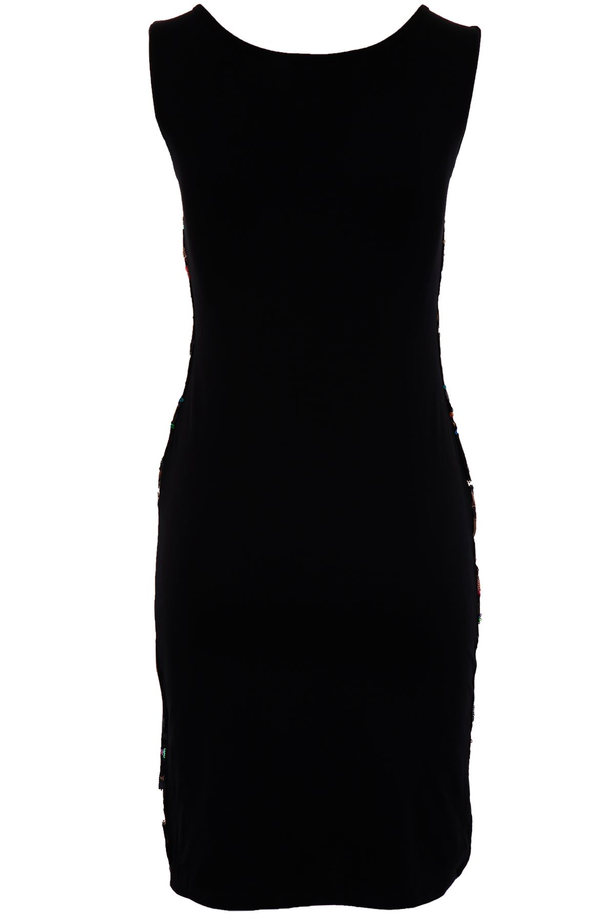Ladies Sleeveless Multi Aztec Sequin Shiny Slim Fit Party Women/'s Bodycon Dress