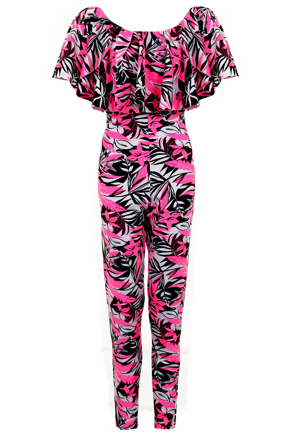 Women/'s Celeb Inspired Off Shoulder Frill Neon Floral Tropical Ladies Jumpsuit