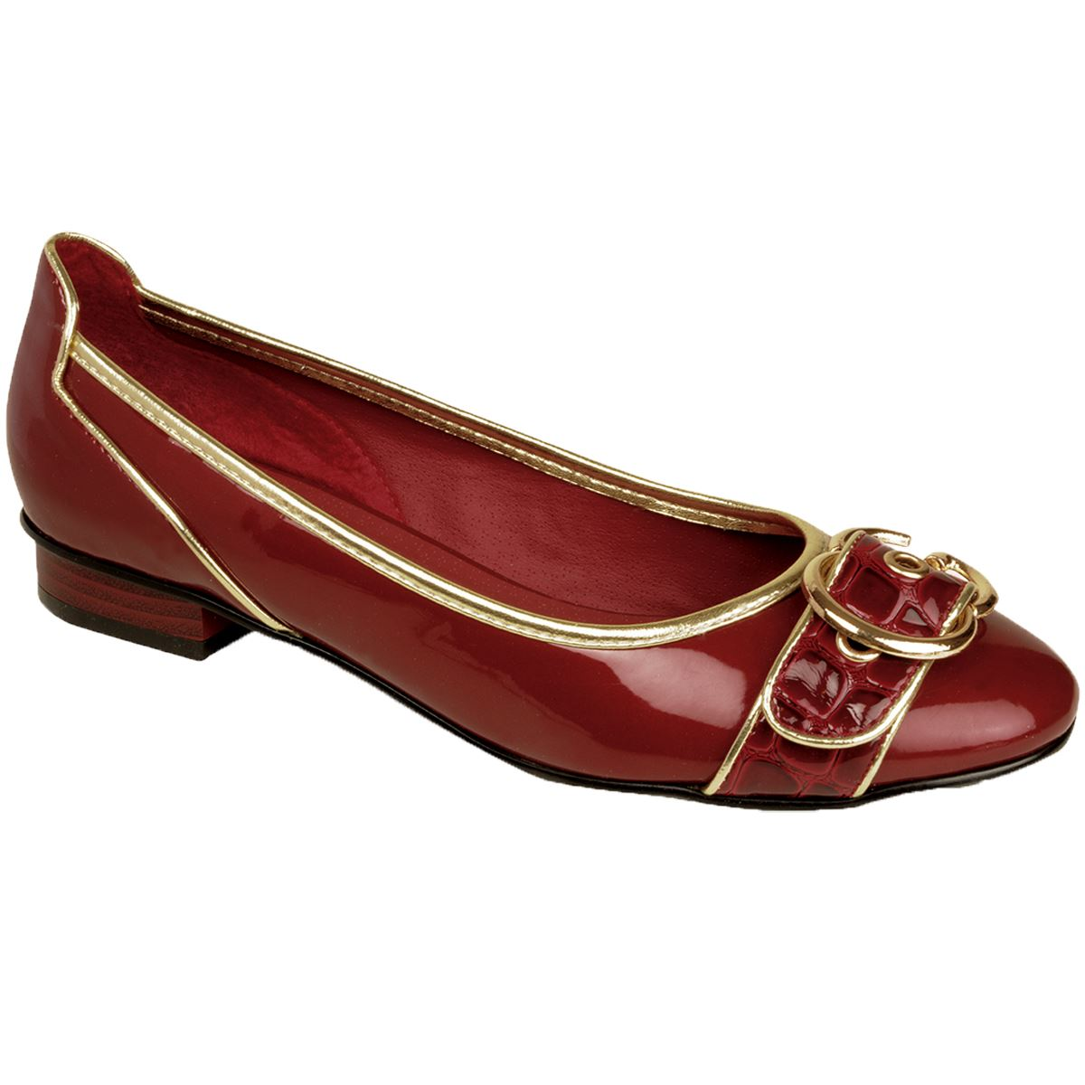 Women/'s Low Heel Gold Silver Trim Patent Shiny Front Buckle Ladies Flats Shoes