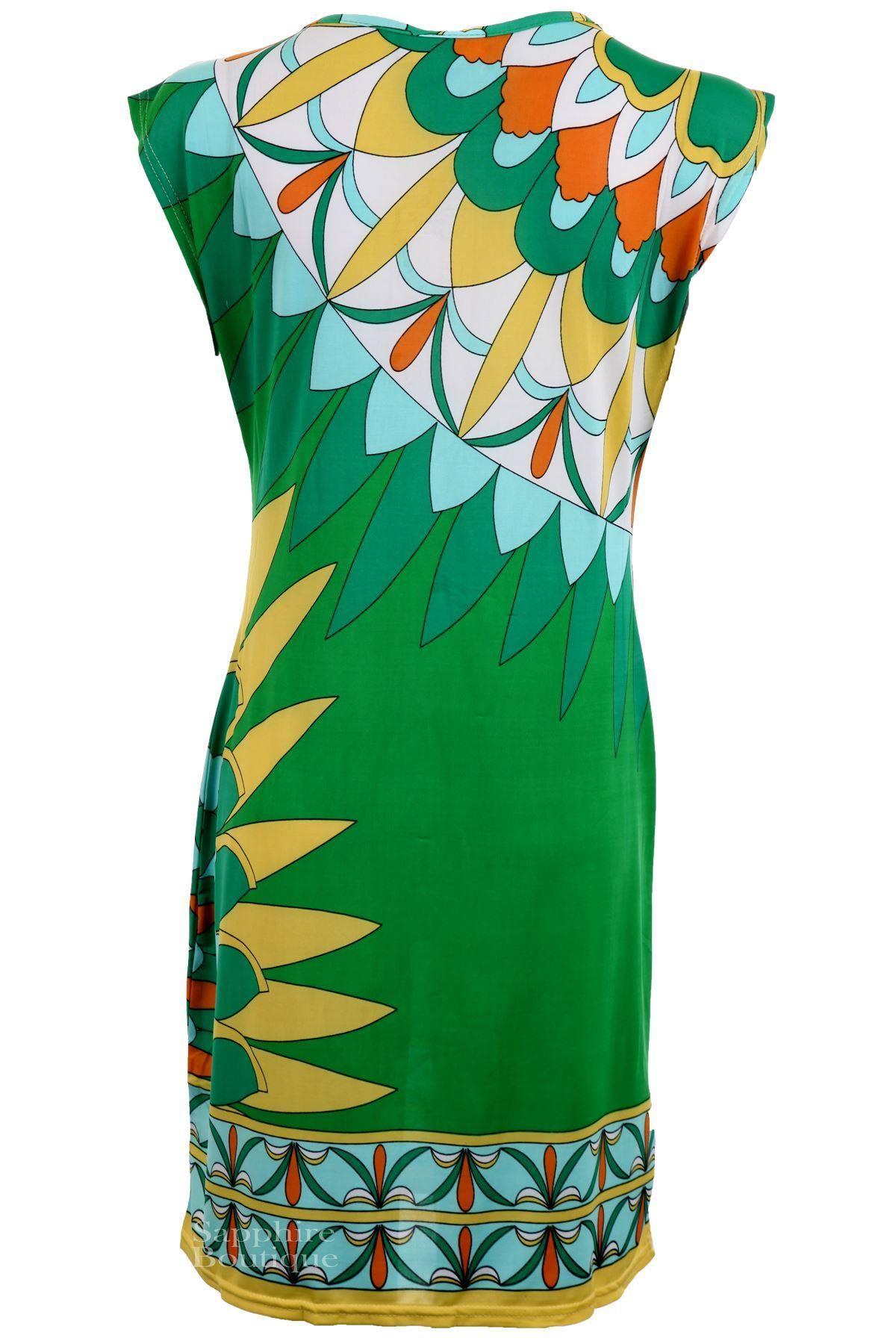 Women/'s Gold V Neck Baggy OverSized Multi-Colour Sleeveless Ladies Long Top