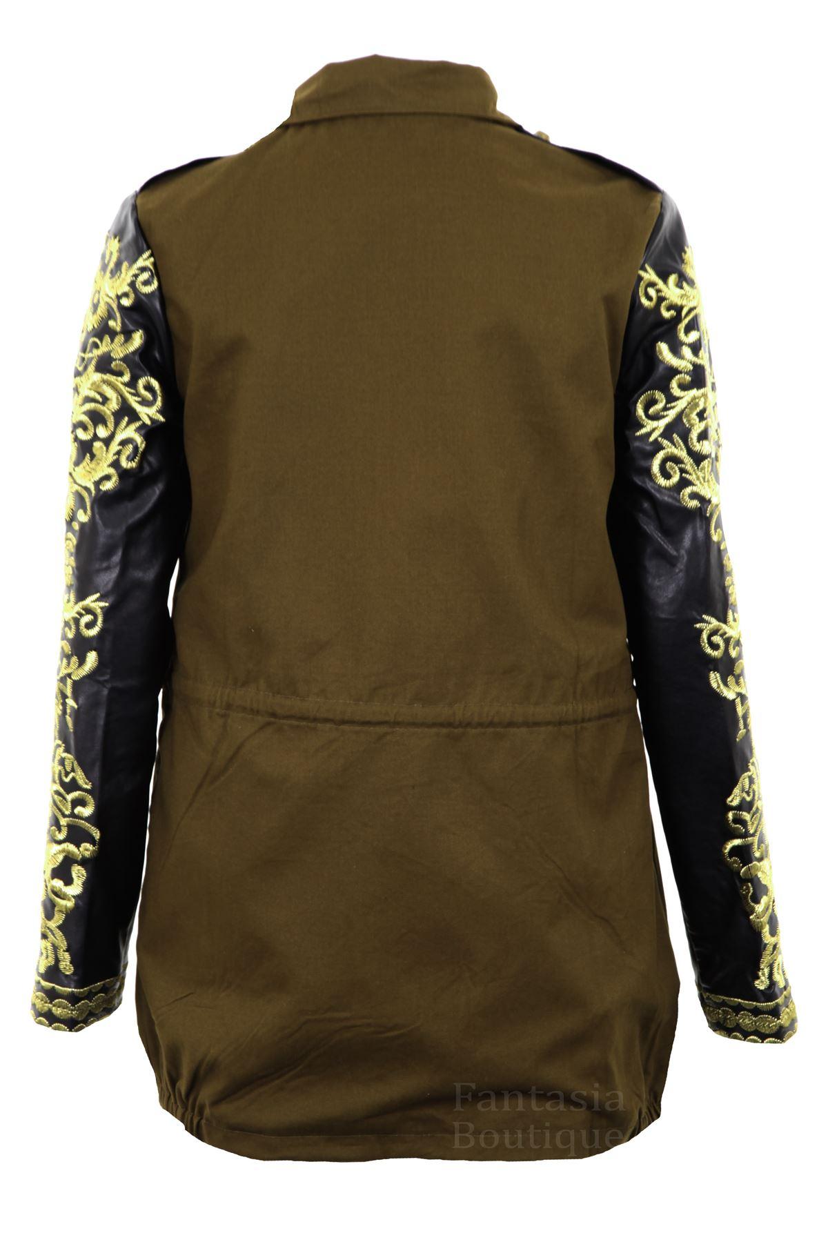 Ladies PVC Gold Embroidered Long Sleeve Khaki Women/'s Coat
