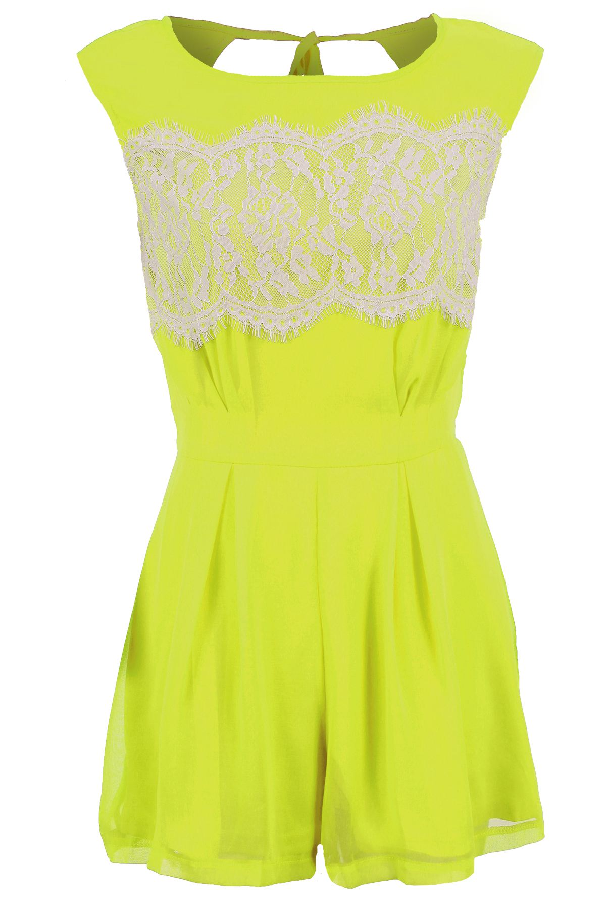 Womens Celeb Sleeveless Open Tie Back Lace Lined Chiffon All In One Playsuit