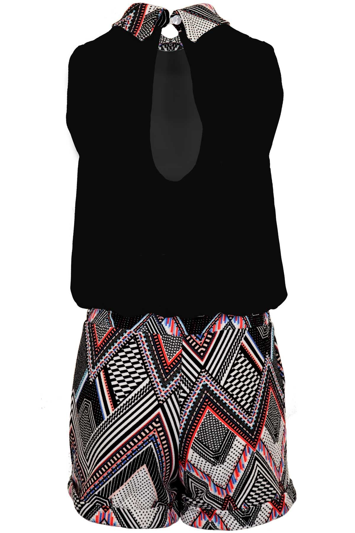 Womens Lined Chiffon Peter Aztec Contrast Pan Collar Romper All In One Playsuit