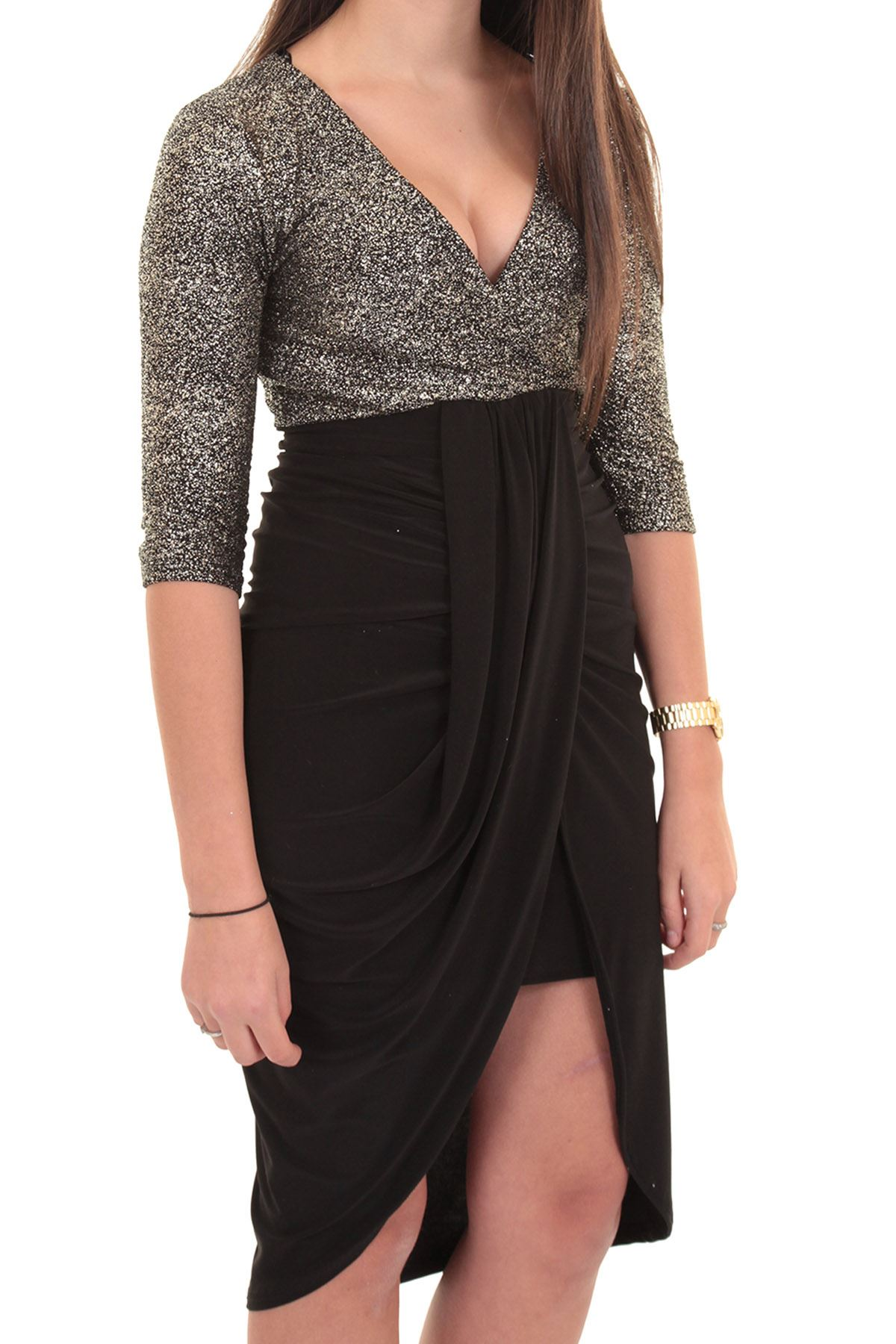 Ladies 3//4 Sleeve Plunge V Wrap Front Gathered Silver Gold Contrast Smart Dress