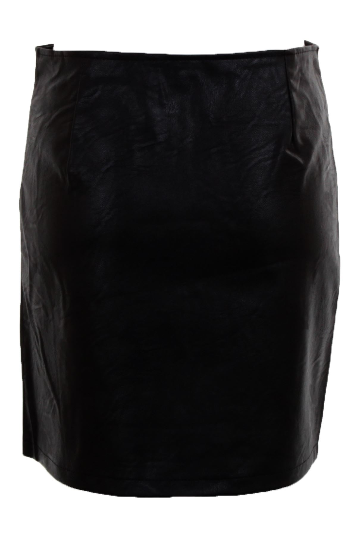 Womens High Waist Faux Leather Circle Zip Front PU A Line Mini Bodycon Skirt