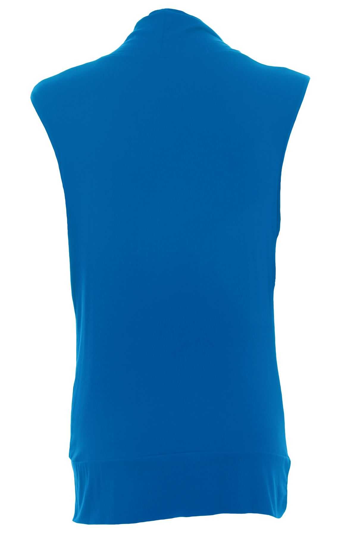 Ladies Gathered Cowl Neck Stretch Sleeveless Long Women's Plus Size top 16-26