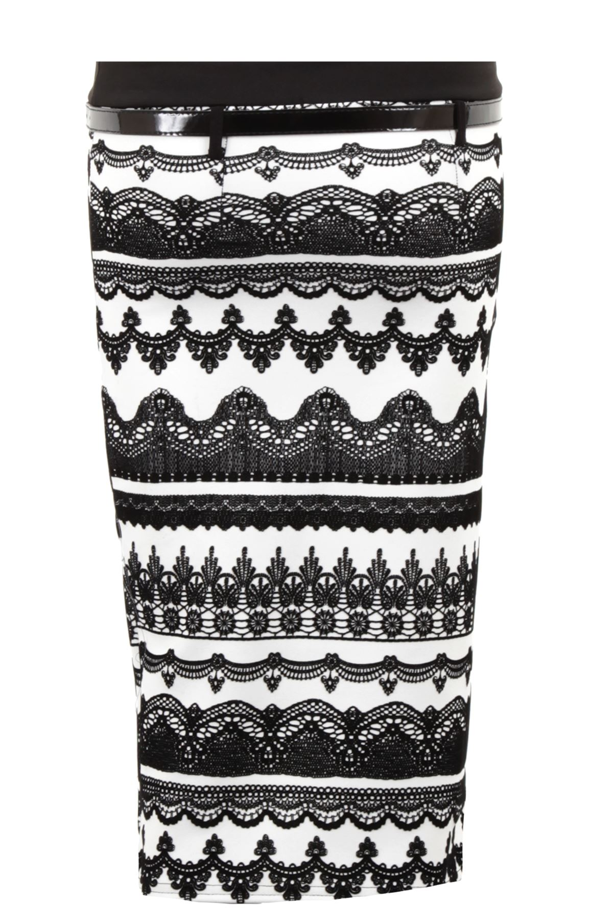 Ladies Flock Aztec Print Belted Pleated Black White Pencil Formal Women/'s Skirt
