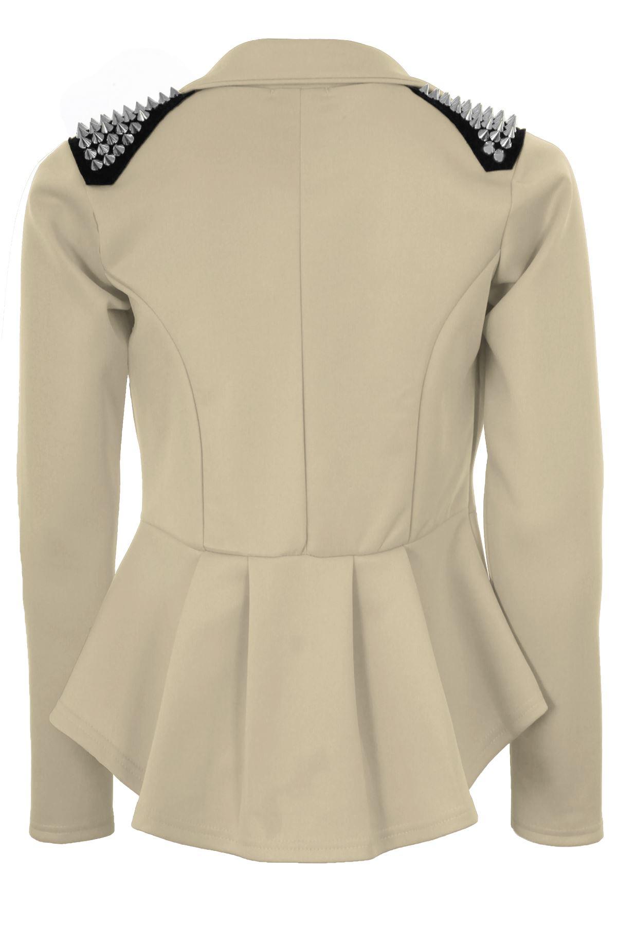 Femmes Haute Basse spike épaule shift frill peplum plissé mesdames blazer jacket