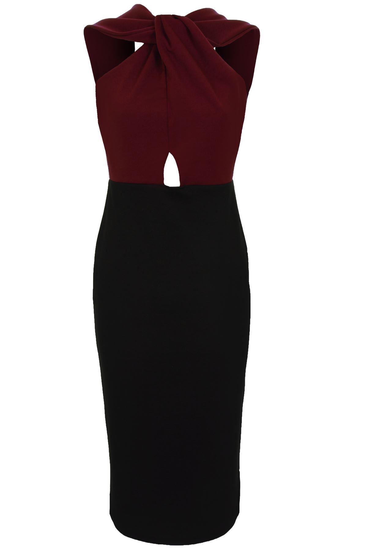 Ladies Cheryl Celeb Open Back Twist Knot Slim Contrast Bodycon Women's Dress