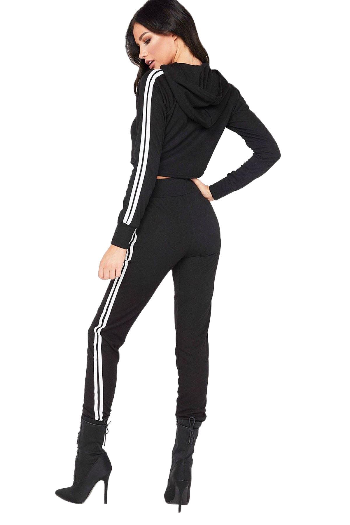 Femmes manches longues Crop rayure sur les côtés de détente jogging survêtement ensemble Coord