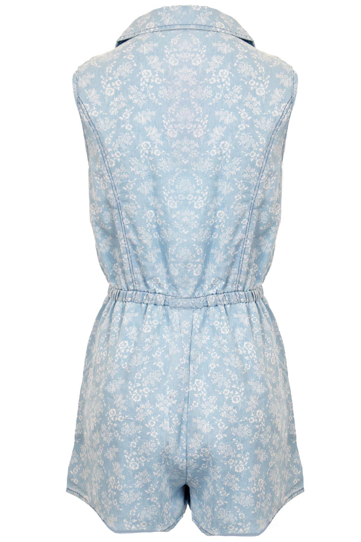 Ladies Denim Floral Print Pattern Shirt Collar Pockets Women/'s Playsuit  6-14