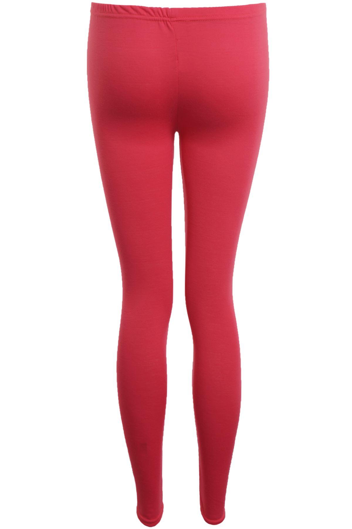 Womens Block Colour Plain Fuchsia Coral Casual Stretch Party Leggings