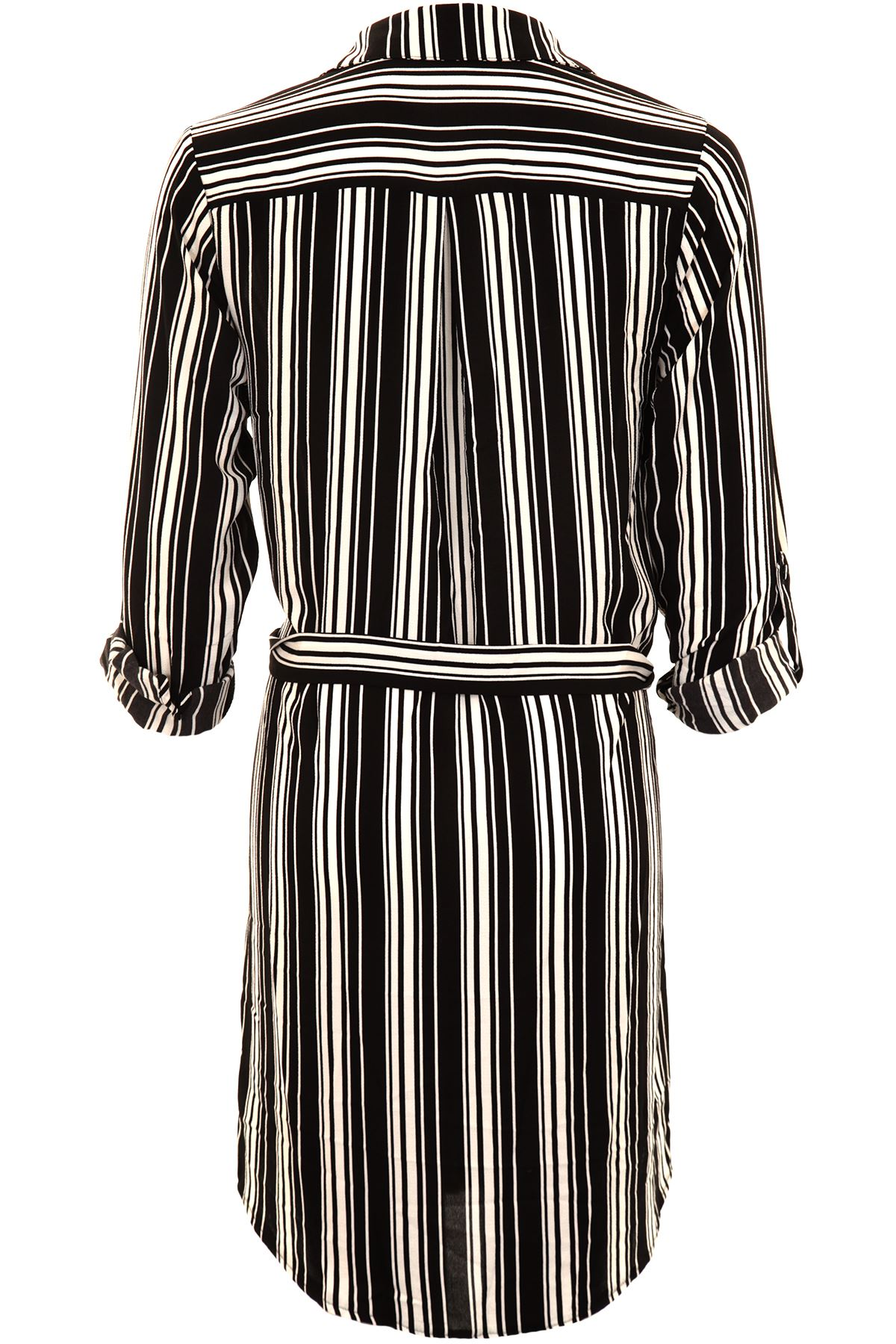Onorevoli presentarsi manica STRIPE laccio in vita chiffon LAMINATA Blusa Camicia Lunga Tunica Top