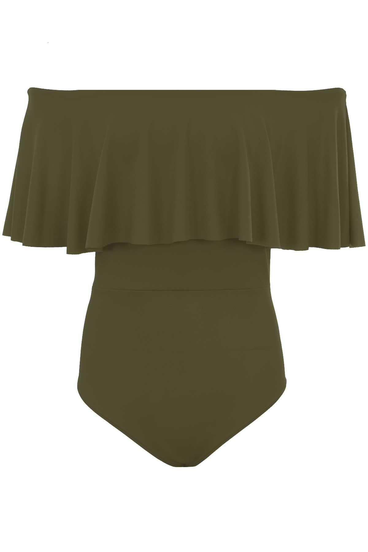 Ladies Bodycon Bardot Off Shoulder Stretch Frill Crepe Textured Bodysuit Leotard