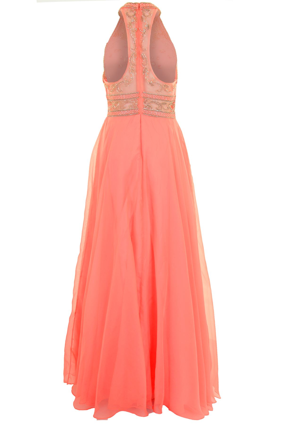 Long Sleeveless Chiffon Mesh Racer Back Maxi Party Prom Evening Gown Dress
