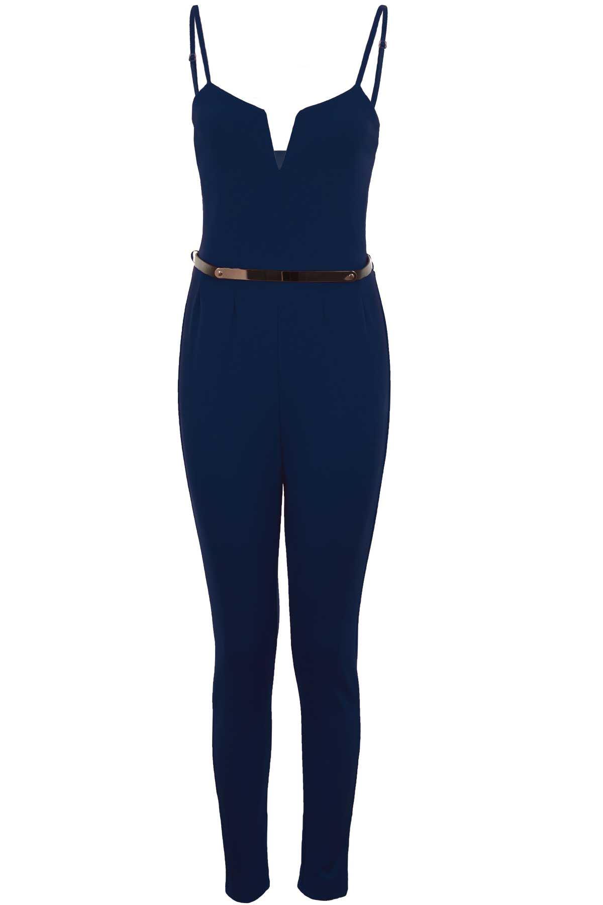 Onorevoli Square Collo V Senza Maniche Con Spalline Cintura Dorata LAMINATA SMART Plain Jumpsuit