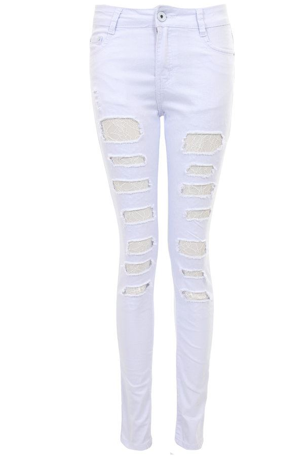 Womens Mesh Lace Insert Distressed Slit Ripped Slashed Slim Fit Skinny Jeans