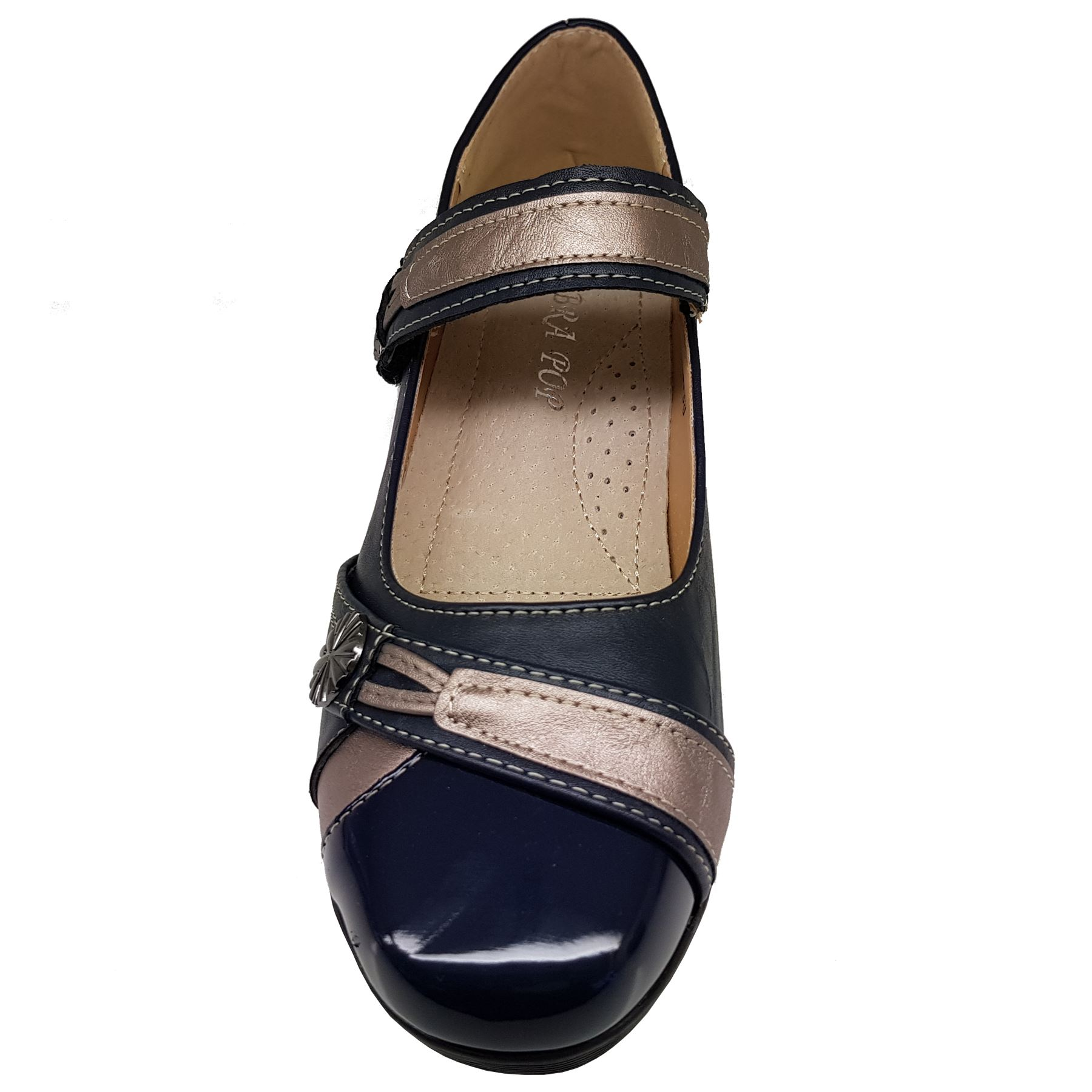 Womens Comfortable Sole Slip On Strap Low Wedge Faux Leather Shoes