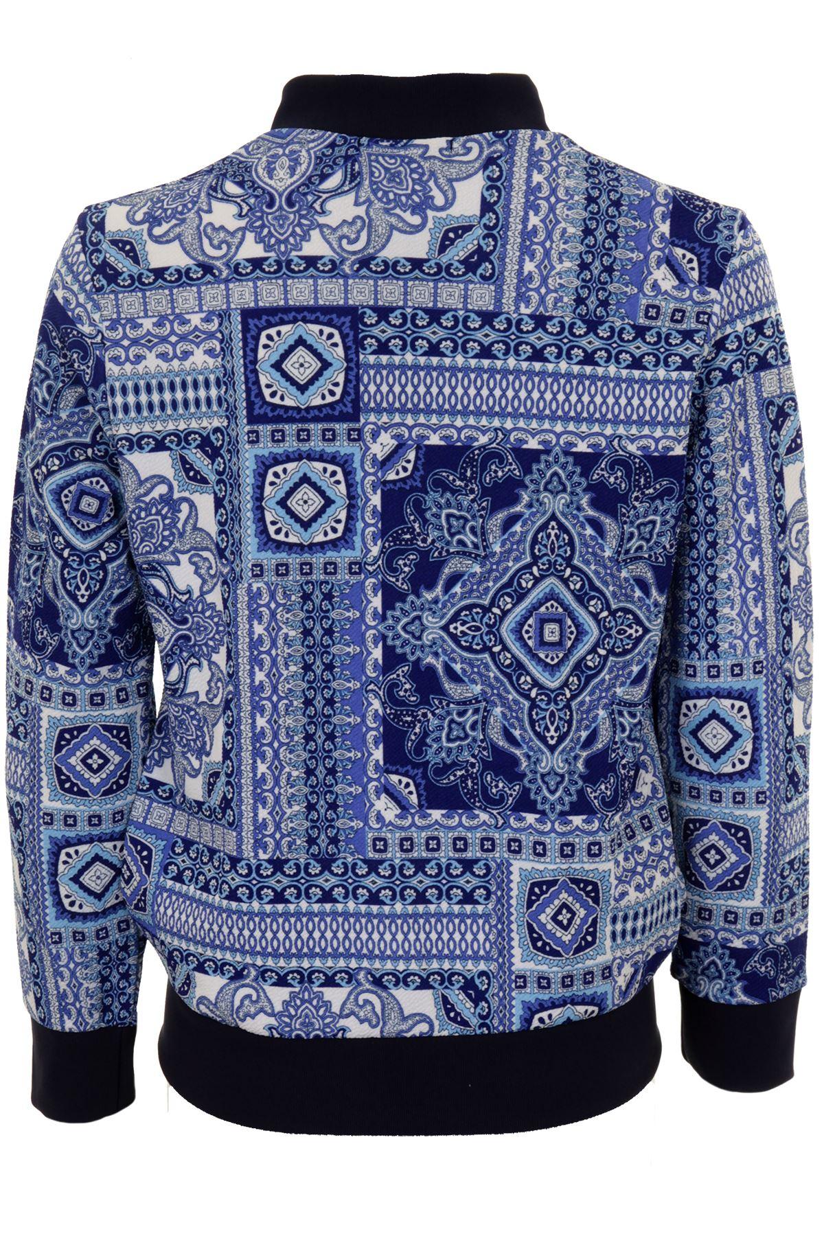 Ladies Vibrant Paisley Print Baseball Style Zip Up Hoodie Thin Bomber Jacket