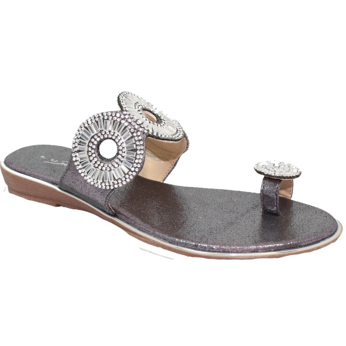 Lunar Elmira Slip On Toe Loop Faux Metallic Leather Gemstone Padded Sandals