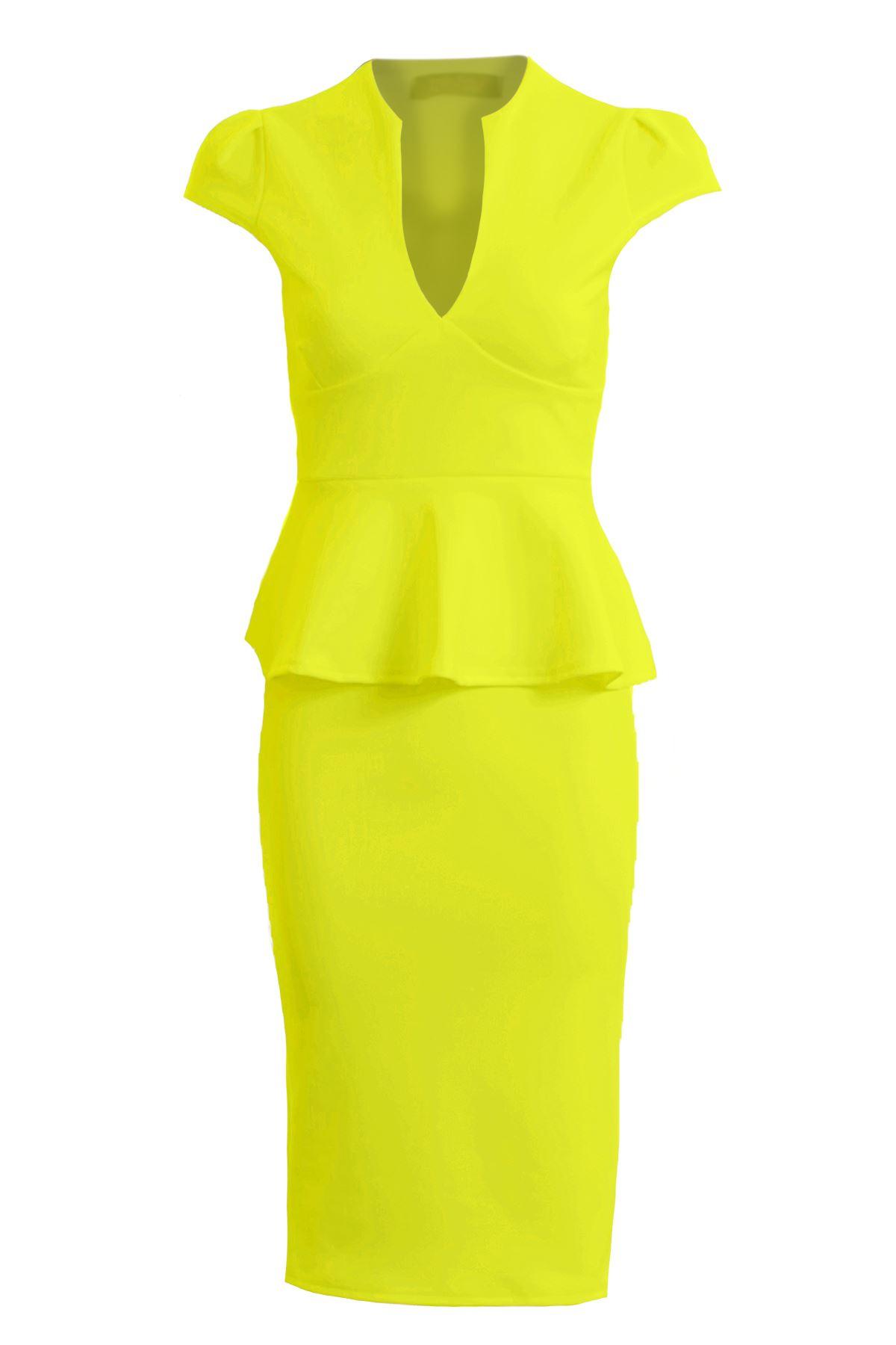 Womens Cap Sleeve Plunge V Neck Knee Length Peplum Frill Midi Bodycon Dress