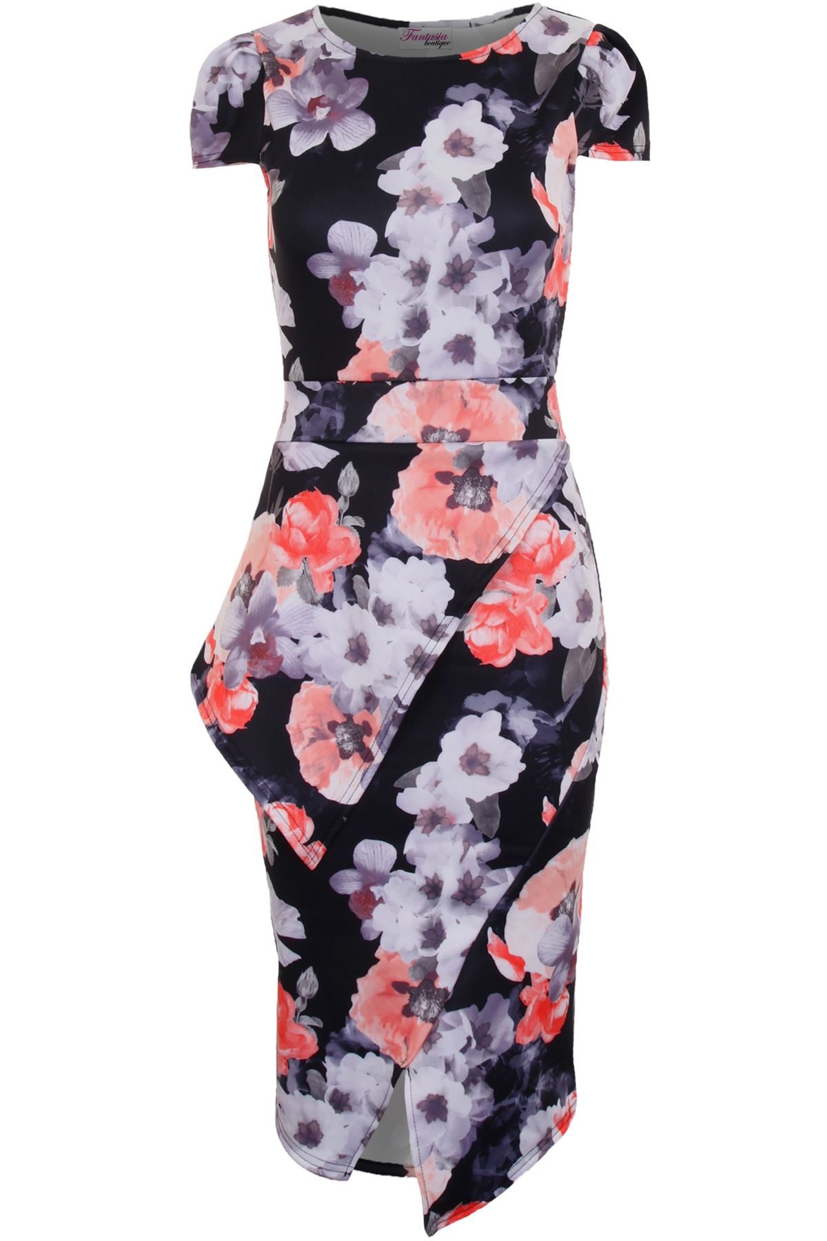 Ladies Cap Sleeve Asymmetric Half Peplum Floral Knee Length Bodycon Dress
