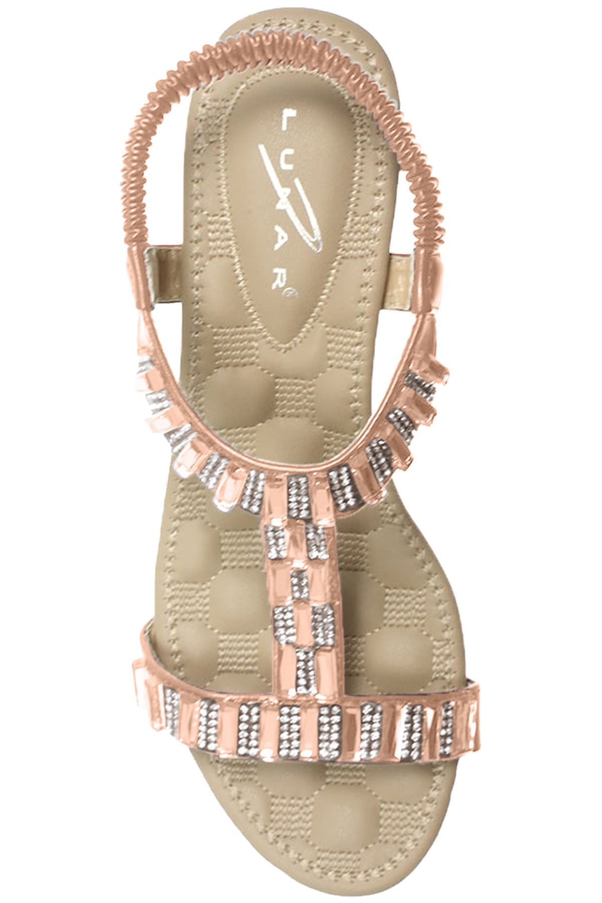 JLH877 Reynolds Ladies Jewell Diamante T-Strap Elasticated Wedge Sandals