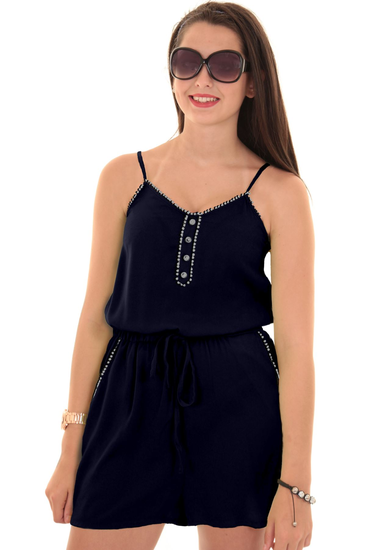 Ladies Sleeveless Strappy Pom Gathered Casual Tie Waist Cami Romper Playsuit