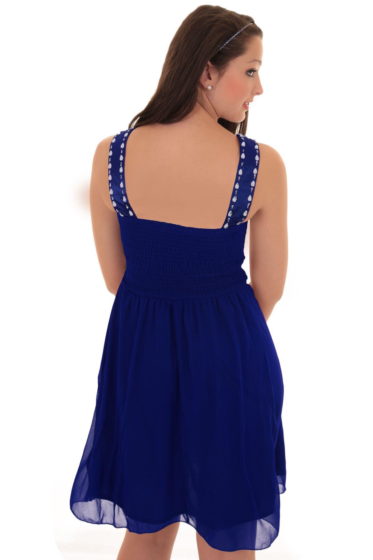 Ladies Sleeveless Diamante V Neck Padded Chiffon Pleated Flare Short Dress