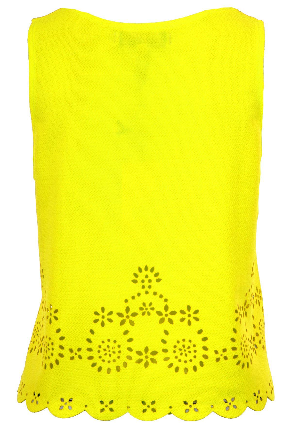 Ladies Scallop Hem Summer Top Women/'s Floral Cut out Trim Sleeveless Vest