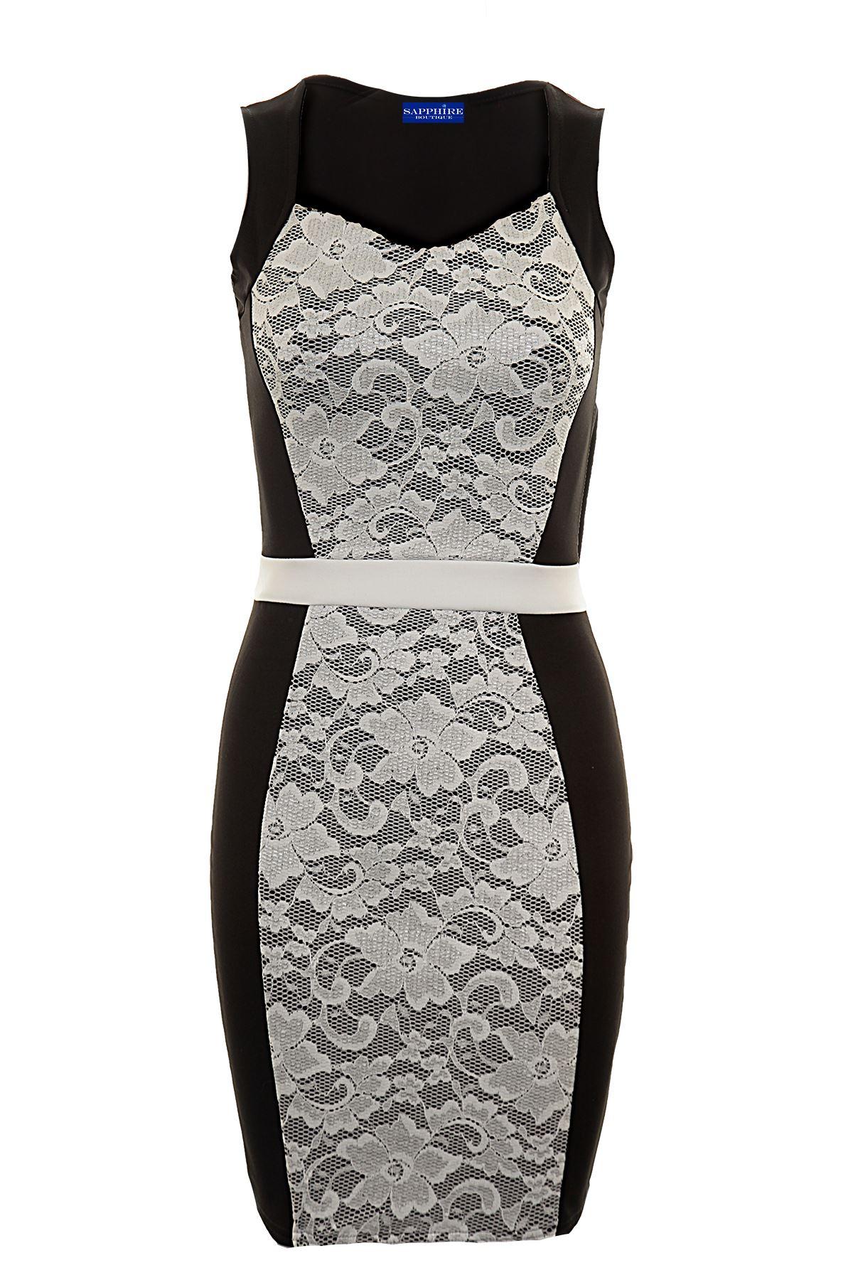 Women/'s Sleeveless Mesh Lace Insert Stripe Waist Ladies Bodyon Dress