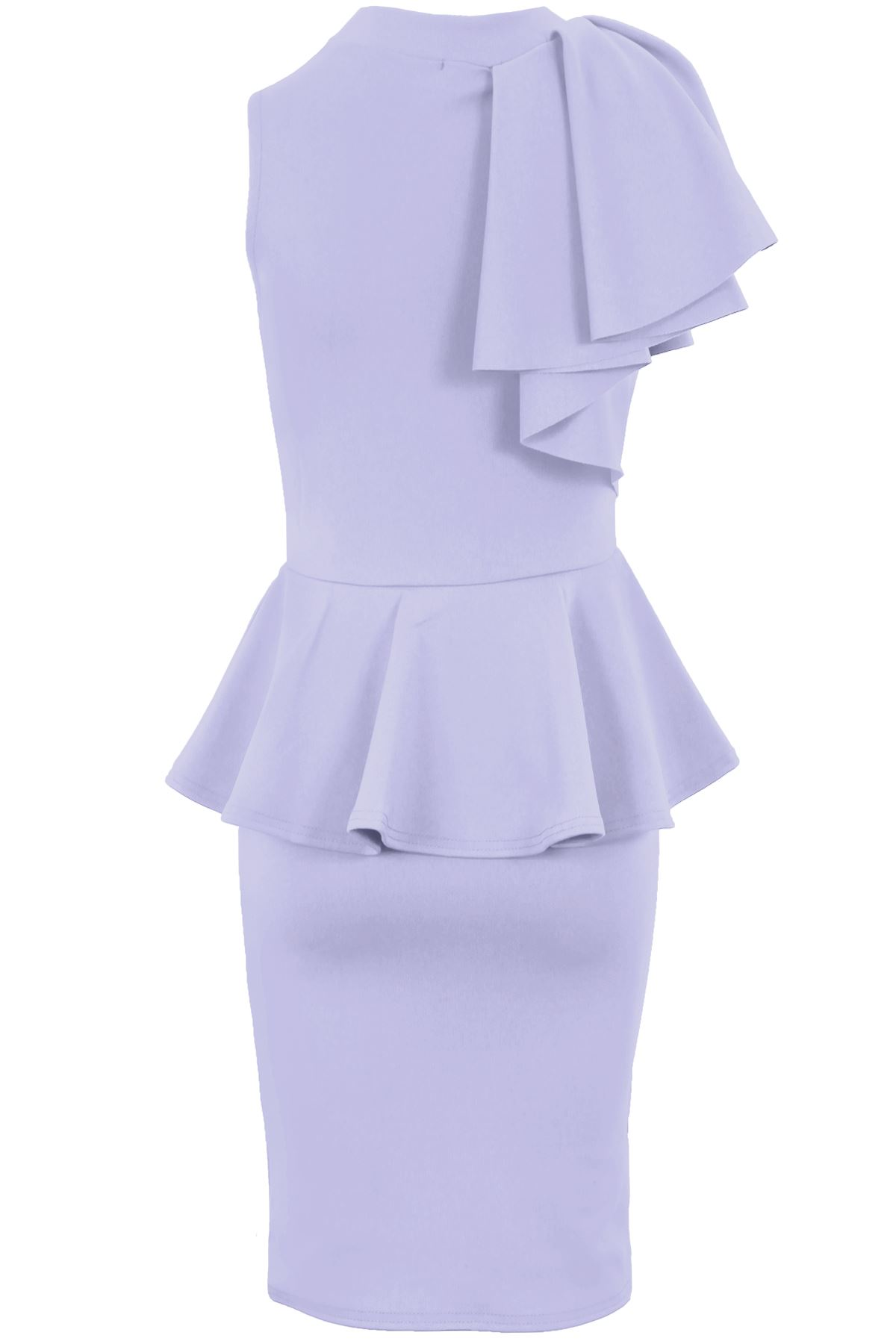 Ladies Sleeveless Ruffle Frill Shoulder Women/'s Peplum Bodycon Party Dress