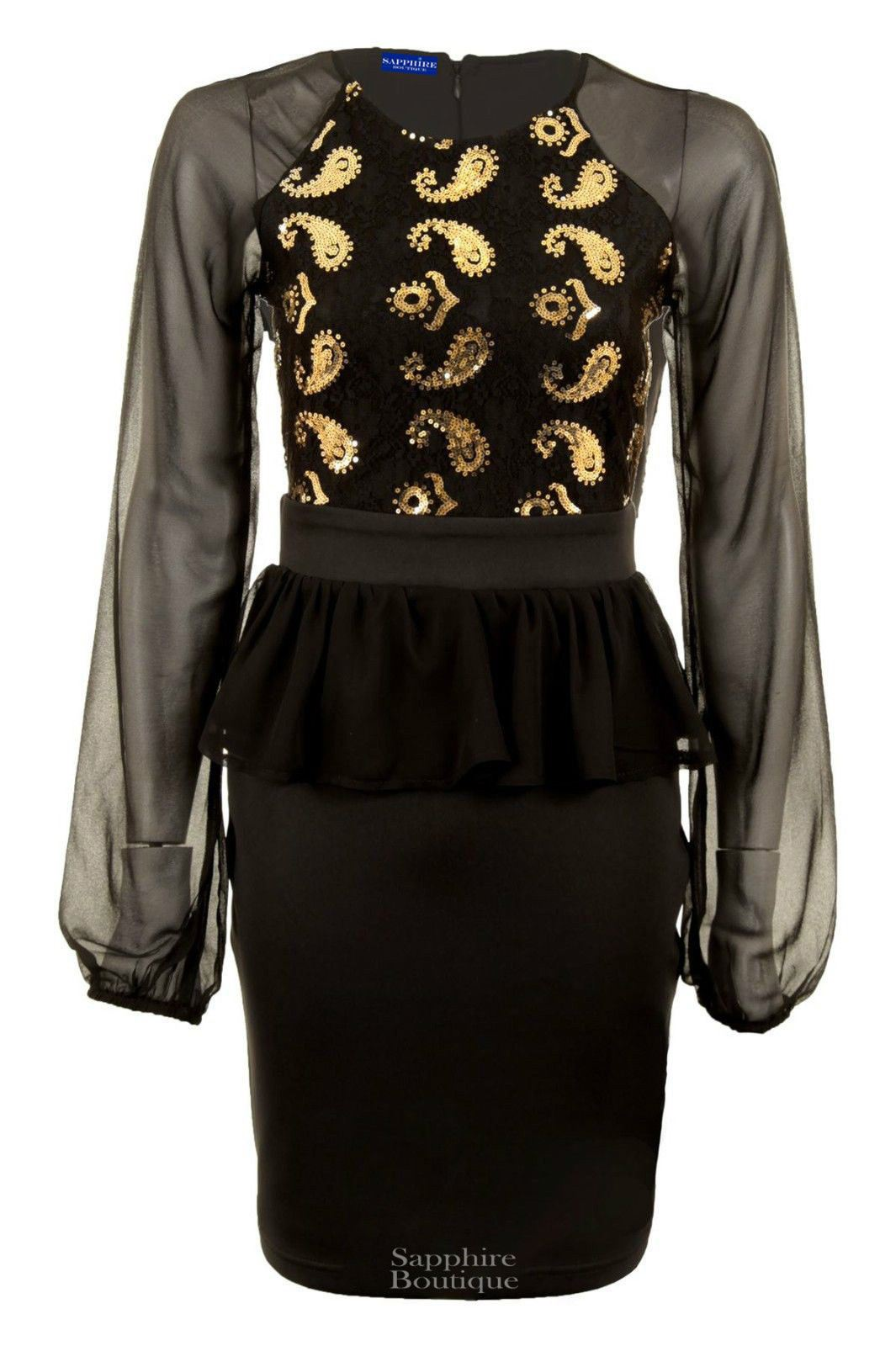 Women/'s Long Sleeved Mesh Lace Paisley Sequin Frill Chiffon Ladies Bodycon Dress