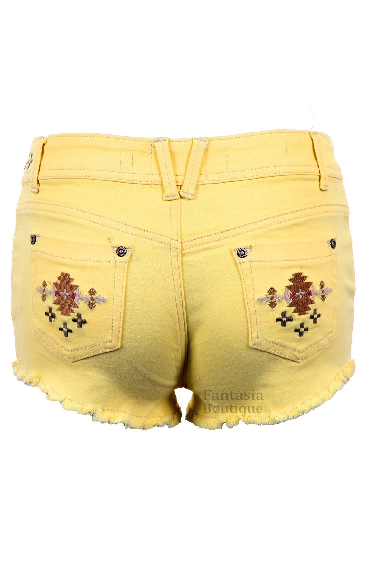 Ladies Denim Pastel Coloured Aztec Summer Shorts Women/'s Fitted Hotpants 6-14