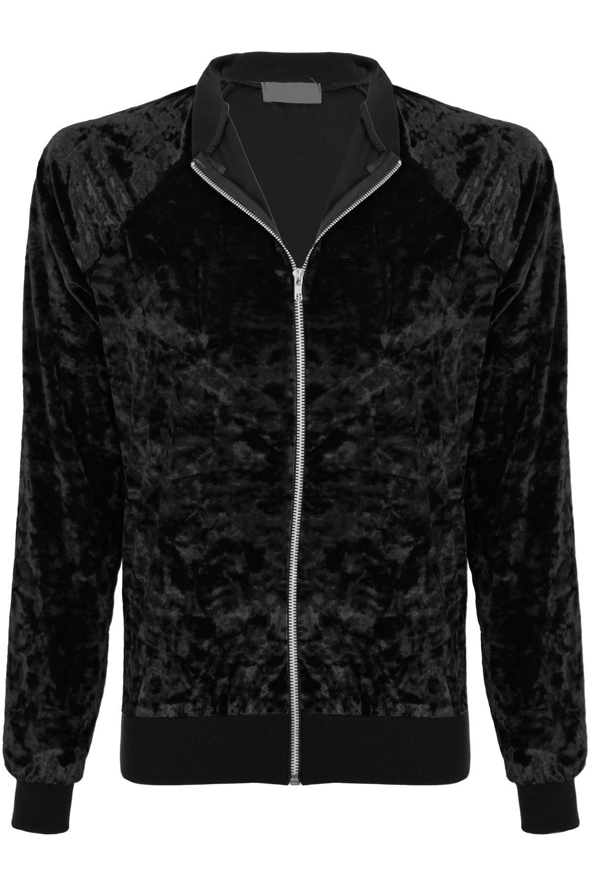 Womens Crushed Velour Velvet A1 Zip Up Top Varsity Bomber Jacket Sweatshirt