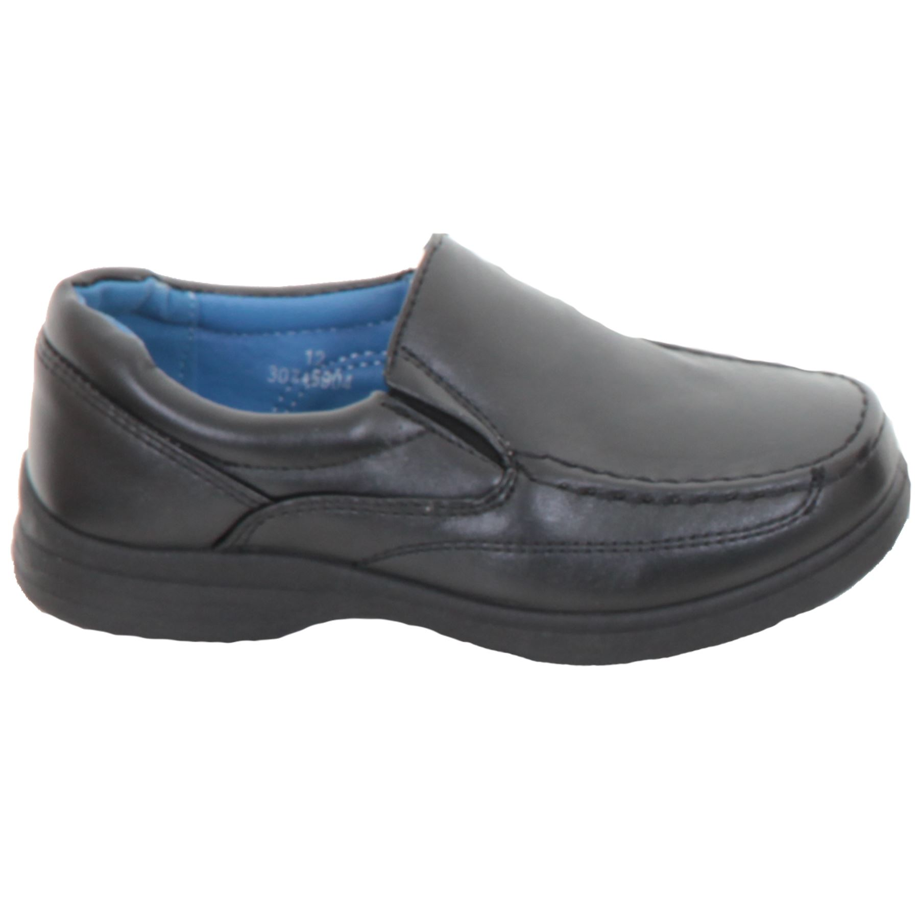 Kids Slip On Faux Leather Back To School Smart Loafer Boys Comfy Flat Shoes