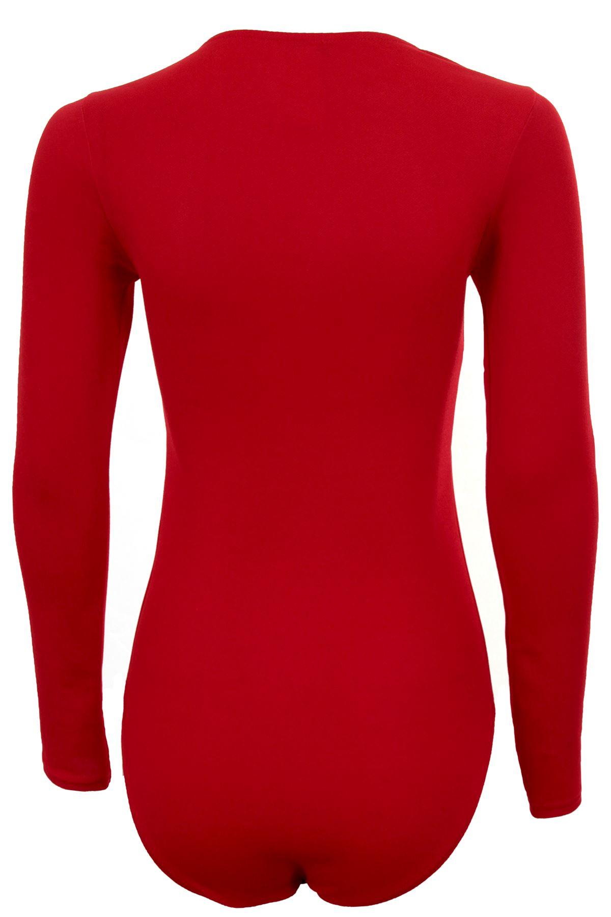 Women/'s Adjustable Lace Up Front Long Sleeve Textured Plunge Leotard Bodysuit