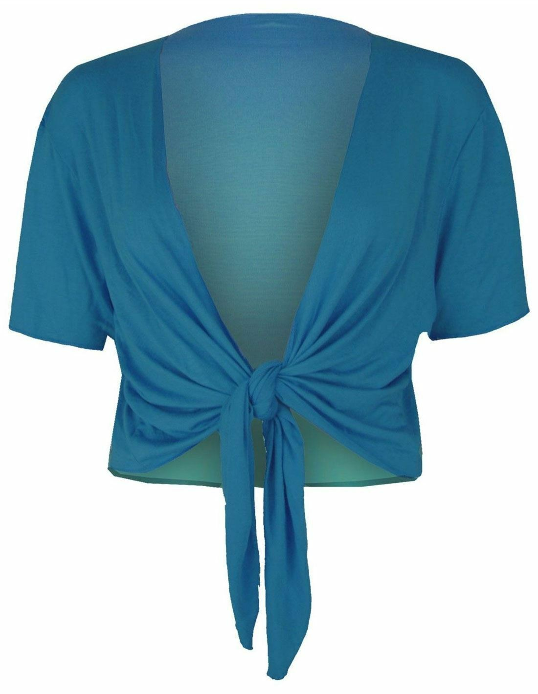 Womens Plain Tie Up Front Shrug Top Ladies Short Sleeve Party Wear Cropped Top