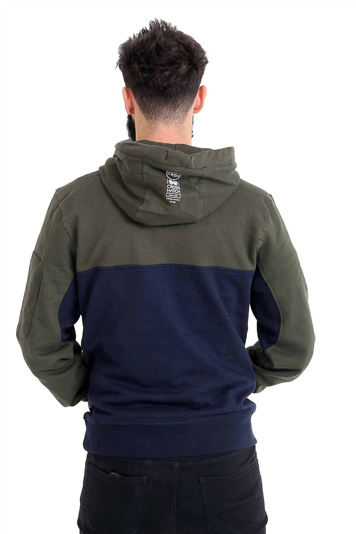 Mens Crosshatch Hoodie Sweatshirt Hooded Jumper Top Pullover 2018 Winter Style