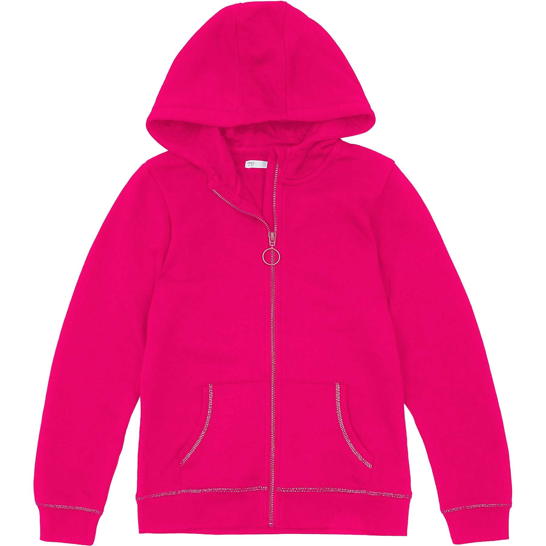 M/&S Kids Girls Zip Up Cotton Hoodie Sweat Shirt Tops Plain Hooded Jumpers Hoody