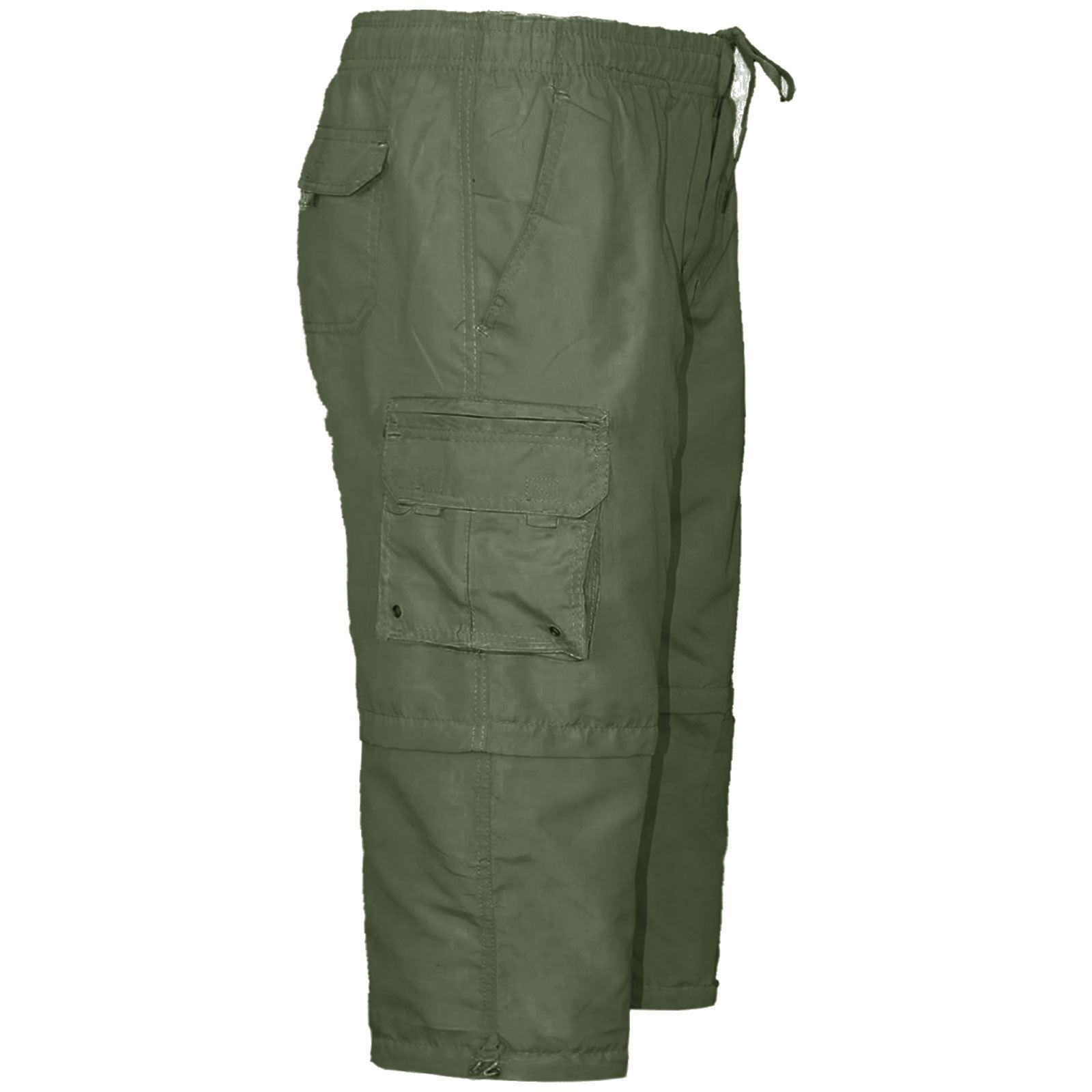 Mens 2 in 1 Plain Gym Elasticated Jogging Shorts 3//4 Running Cargo Zip Pockets