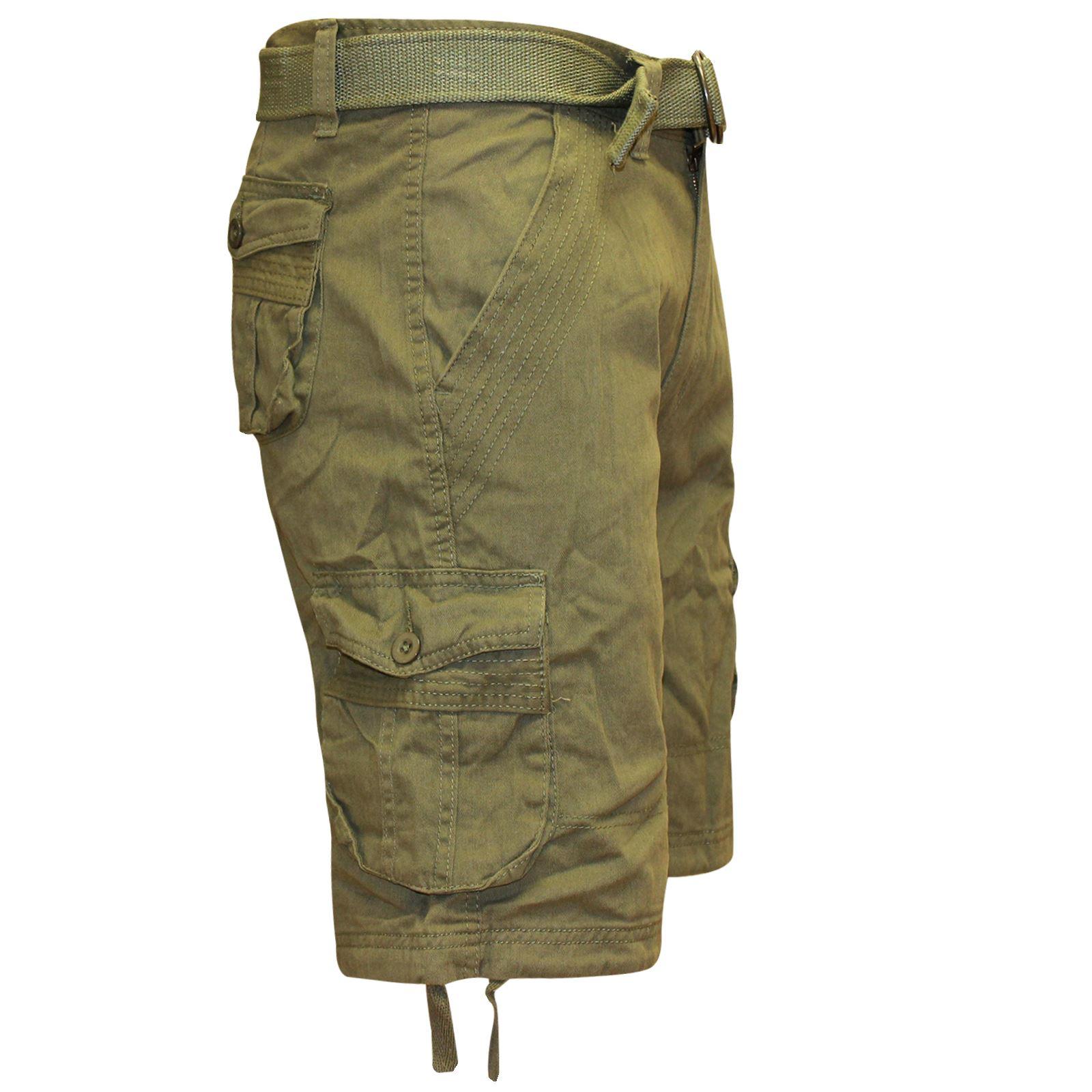 Para Hombre Pantalones Cortos De Combate Cargo Con Cinturón Informal Diseñador Algodón Largo Hasta La Rodilla